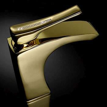 Złota bateria umywalkowa, wannowa pokryta 24 karatowym złotem