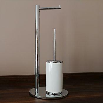 Stojak łazienkowy na papier toaletowy i szczotkę dla ceniących design - GESSI Ovale