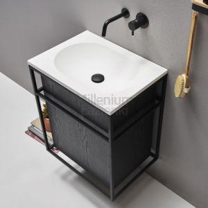 EXT Frame4 Umywalka wisząca z czarnym stelażem, szafką i szufladą