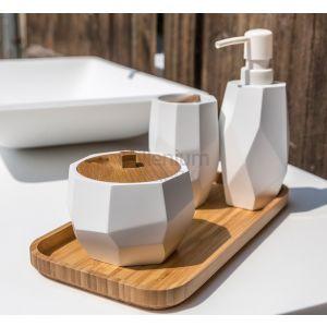 CIPI ITALY Surface Bamboo Mydelniczka, kubek, szczotka wc, dozownik