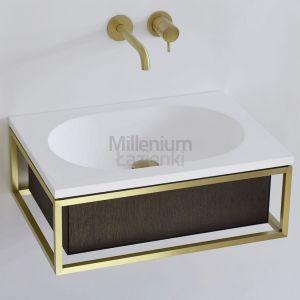 EXT Frame7 Umywalka wisząca stelaż mosiądz i szuflada brąz