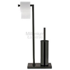 3SC SIMO52 Czarny stojak łazienkowy ze szczotką wc