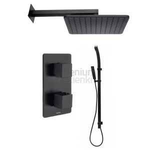BOSSINI Flat 01 Czarna deszczownica, drążek, bateria termostatyczna