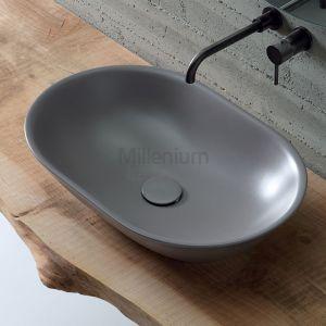 VITRUVIT Mild Włoska owalna umywalka nablatowa kolor Quartz