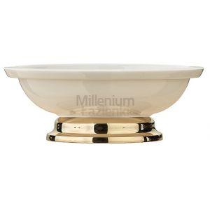 SoeJensen TB37 Mydelniczka ceramiczna wolnostojąca mosiądz lub chrom