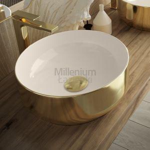 HIDRA CERAMICA Gio G42E Umywalka nablatowa biała złota